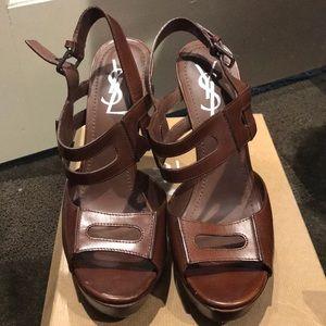 Ysl brown leather heels yves Saint Laurent
